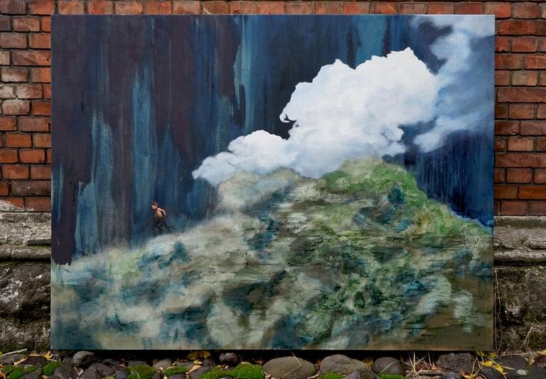 Escape - Large Format Contemporary Nature Oil Painting, Landscape, Mountains - Black Figurative Painting by Aleksandra Batura