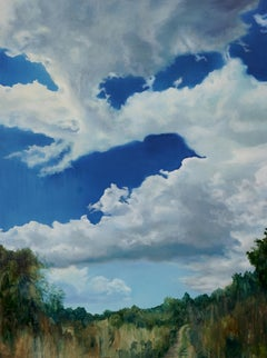 End Of Summer - Large Format Contemporary Nature Oil Painting, Landscape, Sky