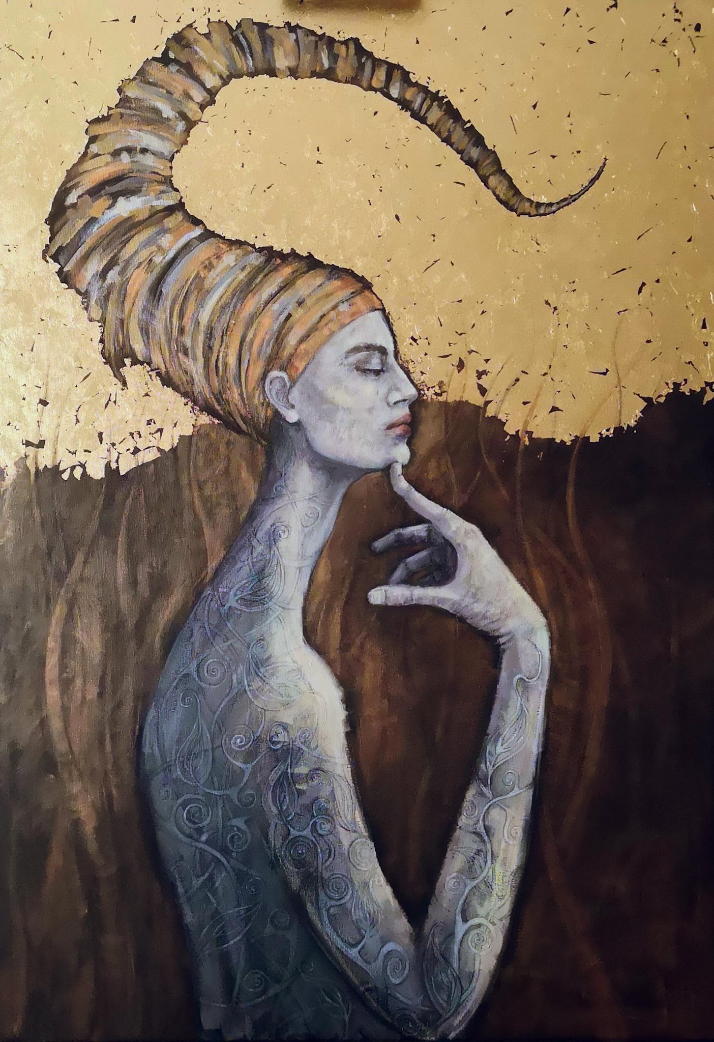 Scorpio  - Zodiac Series, Golden Woman Portrait, Contemporary Painting