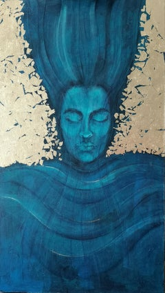 Aquarius  - Zodiac Series, Golden Portrait, Contemporary Painting, Azure Blue