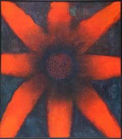 The Sun - Large Format Contemporary Nature, Flower Painting - Framed
