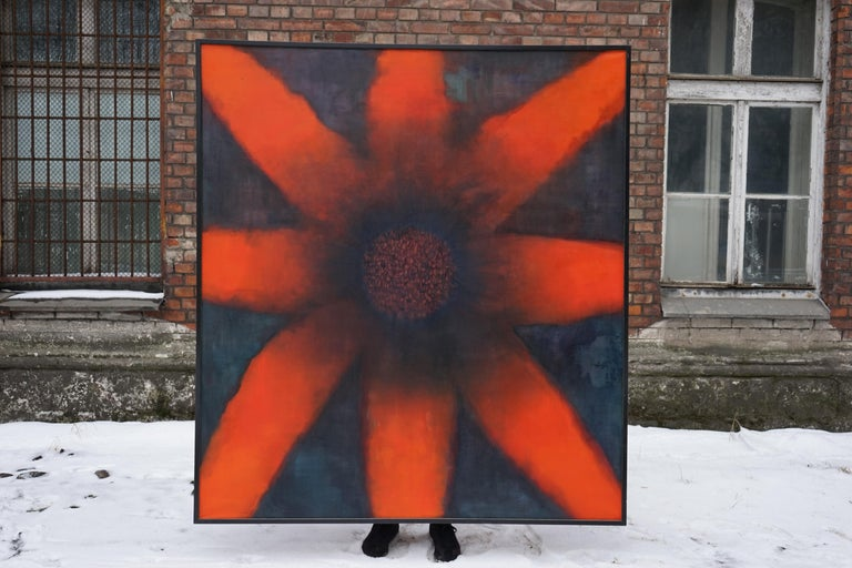 The Sun - Large Format Contemporary Nature, Flower Painting - Framed - Black Abstract Painting by Aleksandra Batura