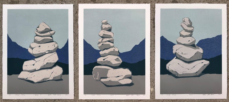 Aneta Szoltis-Mencina Landscape Print - Stone Cairn Triptych  - Handmade Reduction Linocut,  Limited Edition of 8 Pieces