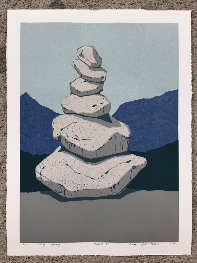 Stone Cairn Triptych  - Handmade Reduction Linocut,  Limited Edition of 8 Pieces - Print by Aneta Szoltis-Mencina