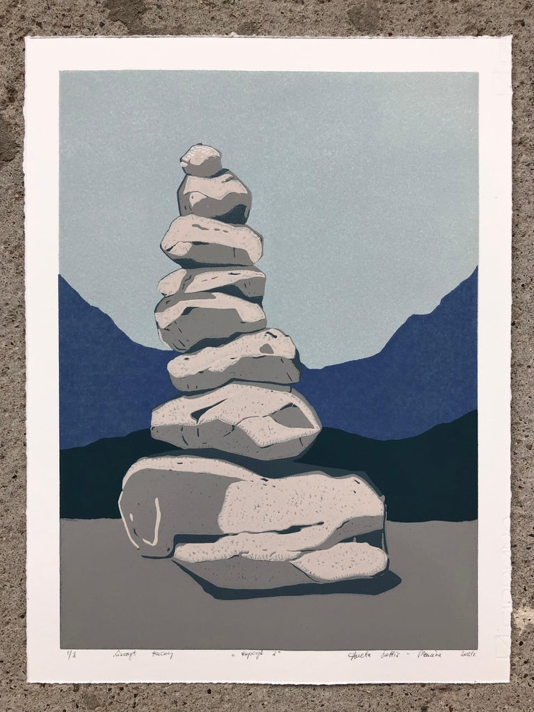 Stone Cairn Triptych  - Handmade Reduction Linocut,  Limited Edition of 8 Pieces - Contemporary Print by Aneta Szoltis-Mencina