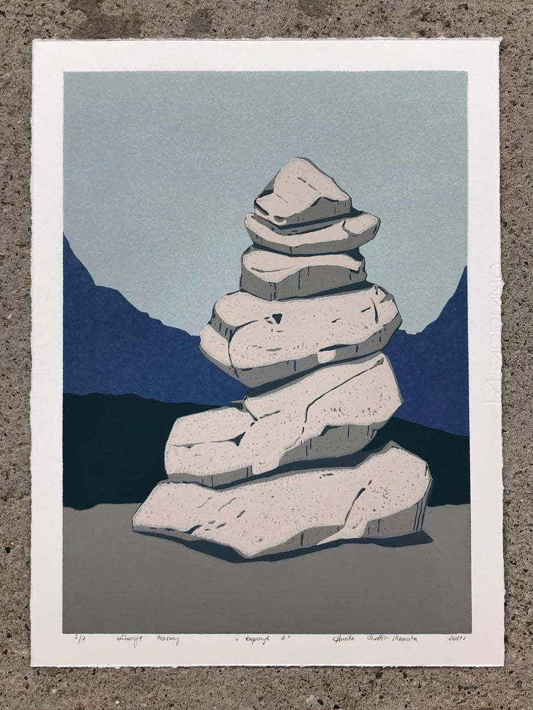 Stone Cairn Triptych  - Handmade Reduction Linocut,  Limited Edition of 8 Pieces - Gray Landscape Print by Aneta Szoltis-Mencina
