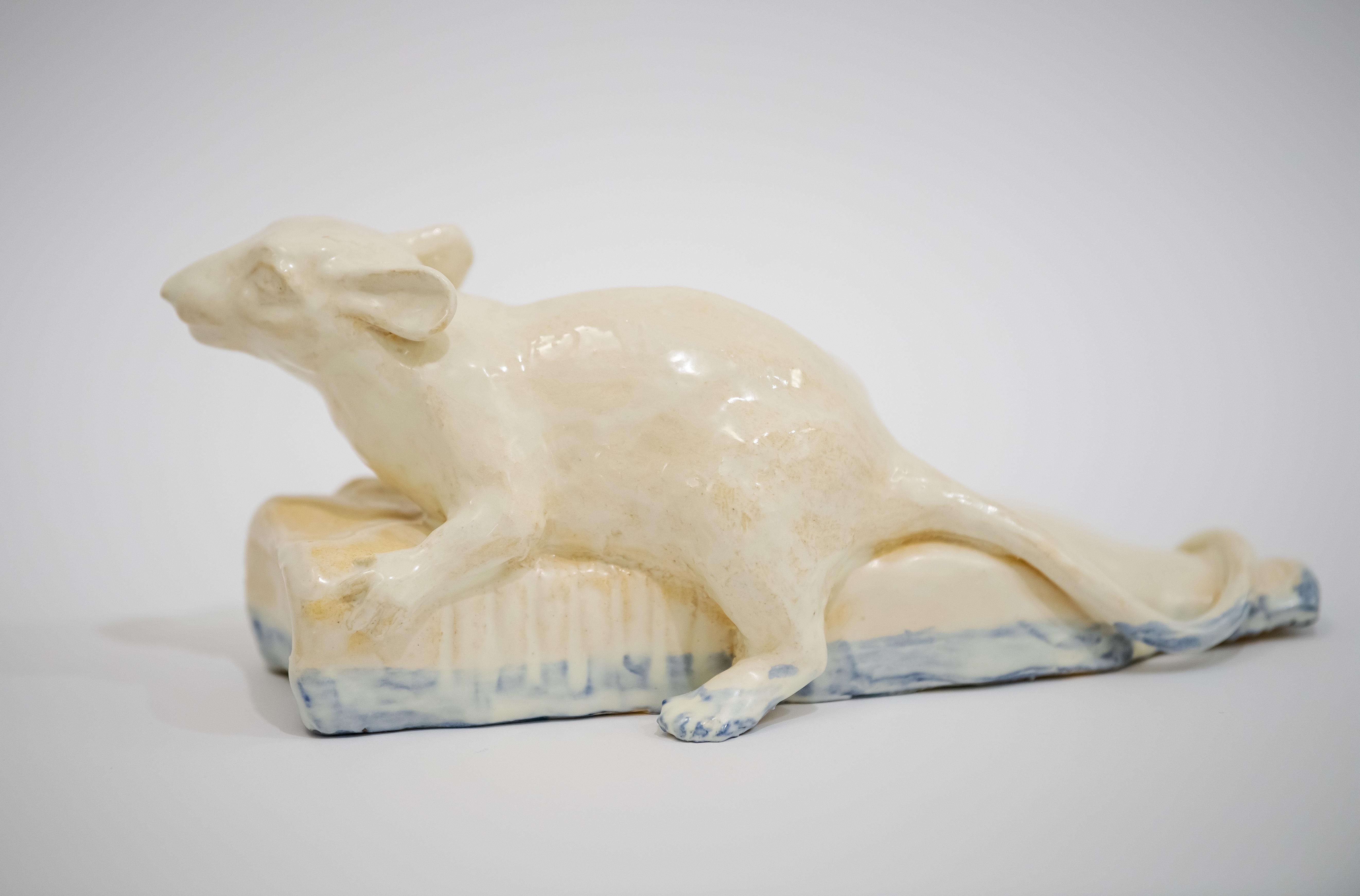 Rat On The Bottle In Water - Unique Handmade Glazed Ceramics Sculpture, Portrait