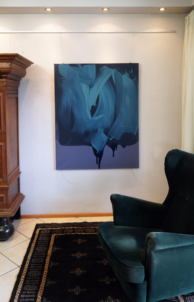 Blue 1, Series Blobs - Contemporary Modern Oil Painting, Colourful Expression For Sale 1