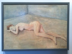 Nude Lying Woman - Atmospheric Oil Painting, Soft Pastel Colors