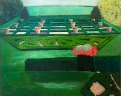 The Green Garden  - Modern Landscape Oil Painting, Nature, English Garden