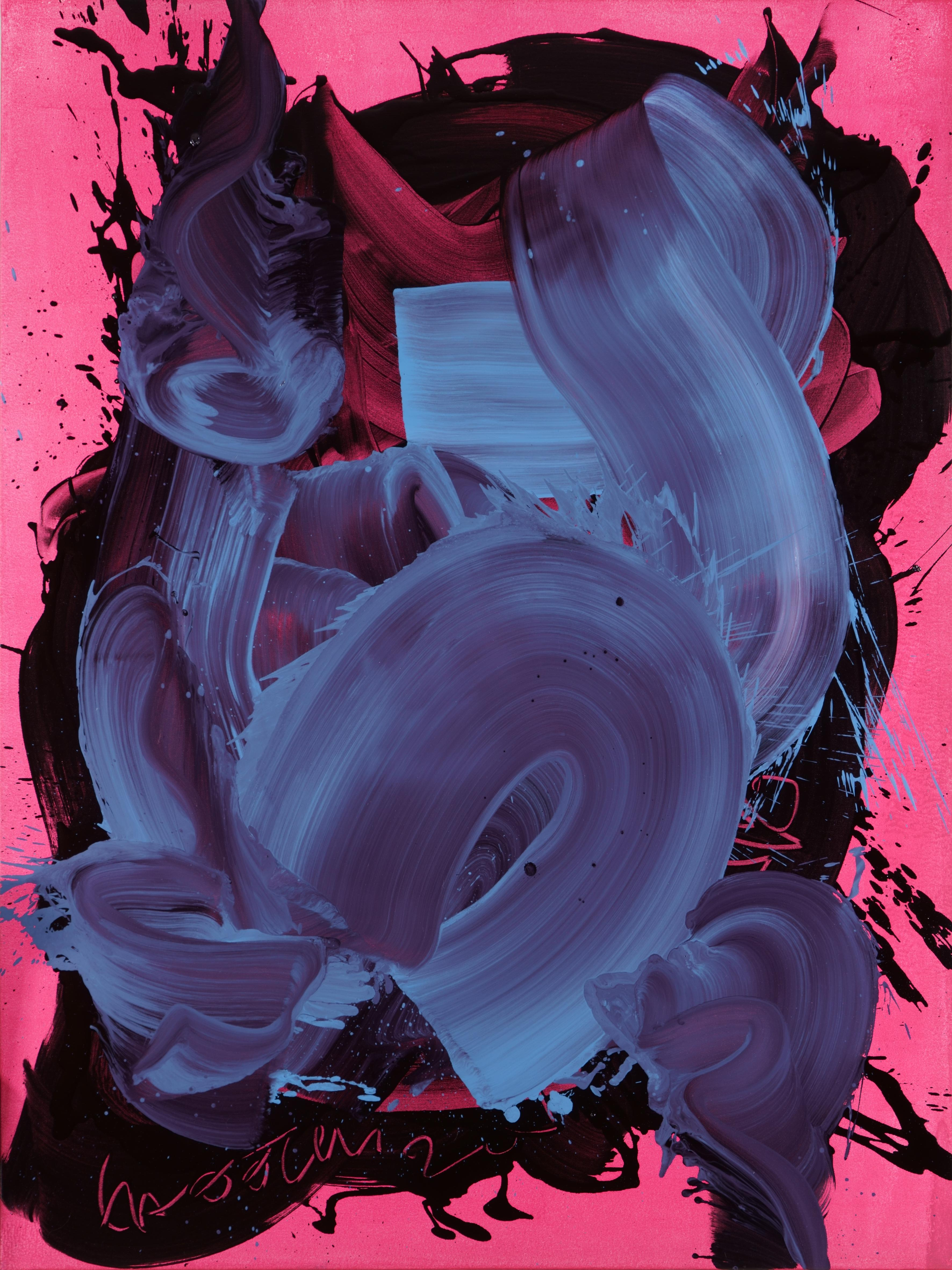 On The Pink - Series Blobs - Contemporary Oil Painting, Colourful Expression