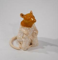 Mom Rat With Babies - Unique Handmade Glazed Ceramics Sculpture, Animals