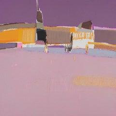 Manse 2 - Contemporary Landscape Oil Pastel  Painting, Warm Tones