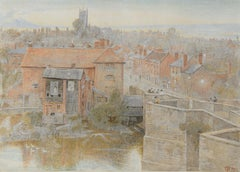 Ludlow from Ludgate Bridge- 20th Century, Landscape Watercolour by Harry Goodwin
