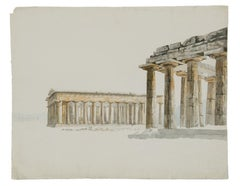 Paestum - 19th century pencil and watercolour drawing of three Doric temples