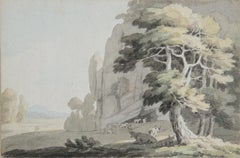 Cows resting under trees - 19th century landscape painting by John White Abbott