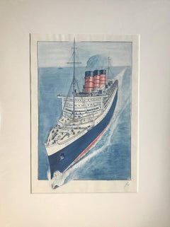 The Queen Mary at Sea - 1950s mixed media work by Geoffrey Richard Mortimer
