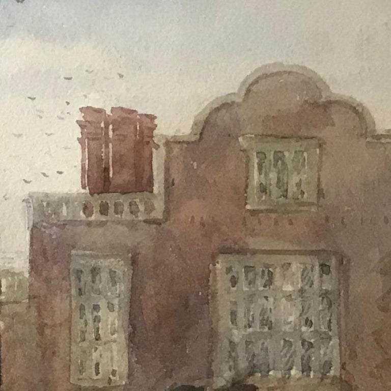 David Cox, 'A terrace with figures', 1836, English landscape watercolour drawing For Sale 1