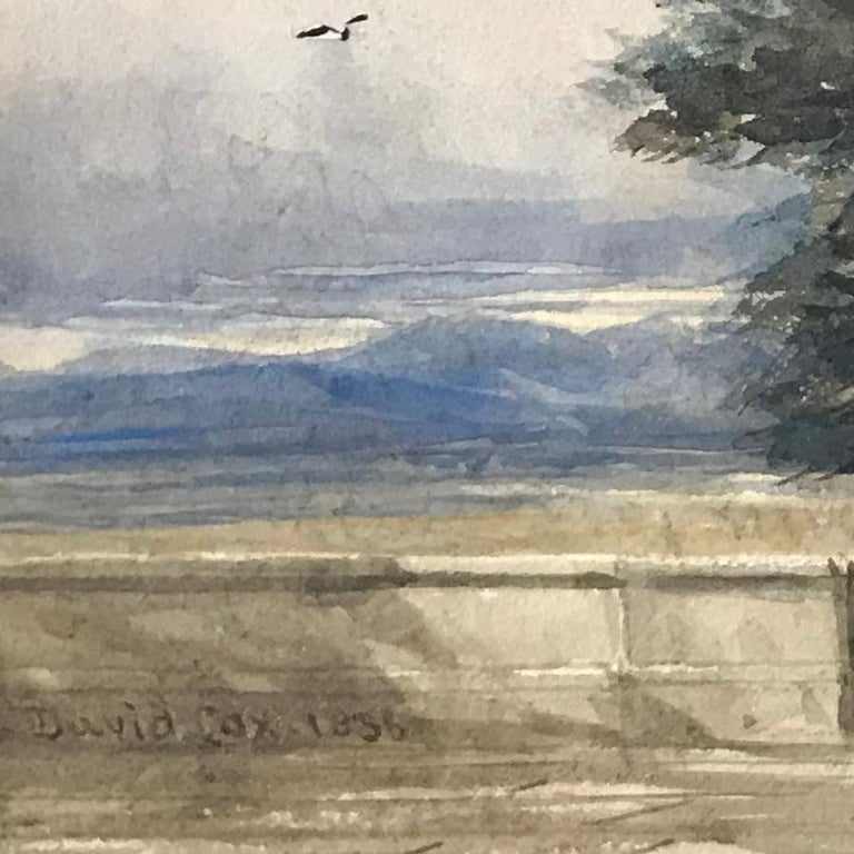 David Cox, 'A terrace with figures', 1836, English landscape watercolour drawing - Brown Figurative Art by David Cox