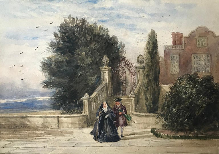 David Cox, 'A terrace with figures', 1836, English landscape watercolour drawing - Art by David Cox
