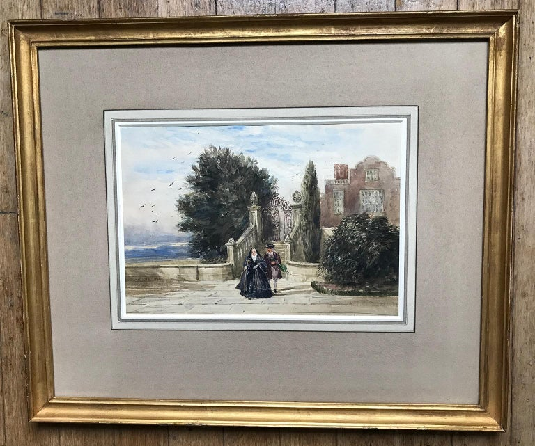 David Cox, 'A terrace with figures', 1836, English landscape watercolour drawing - Romantic Art by David Cox
