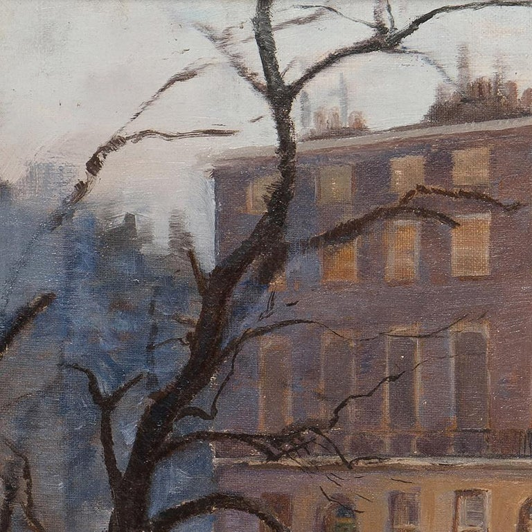 Oil on canvas, in an early 20th century gold painted oak frame. Dimensions are 18.1 x 12 in (46 x 30.5 cm) unframed, 23.6 x 17.7 in (60 x 45 cm) framed.  This atmospheric oil painting of a London square in the snow is attributed to New Zealand born