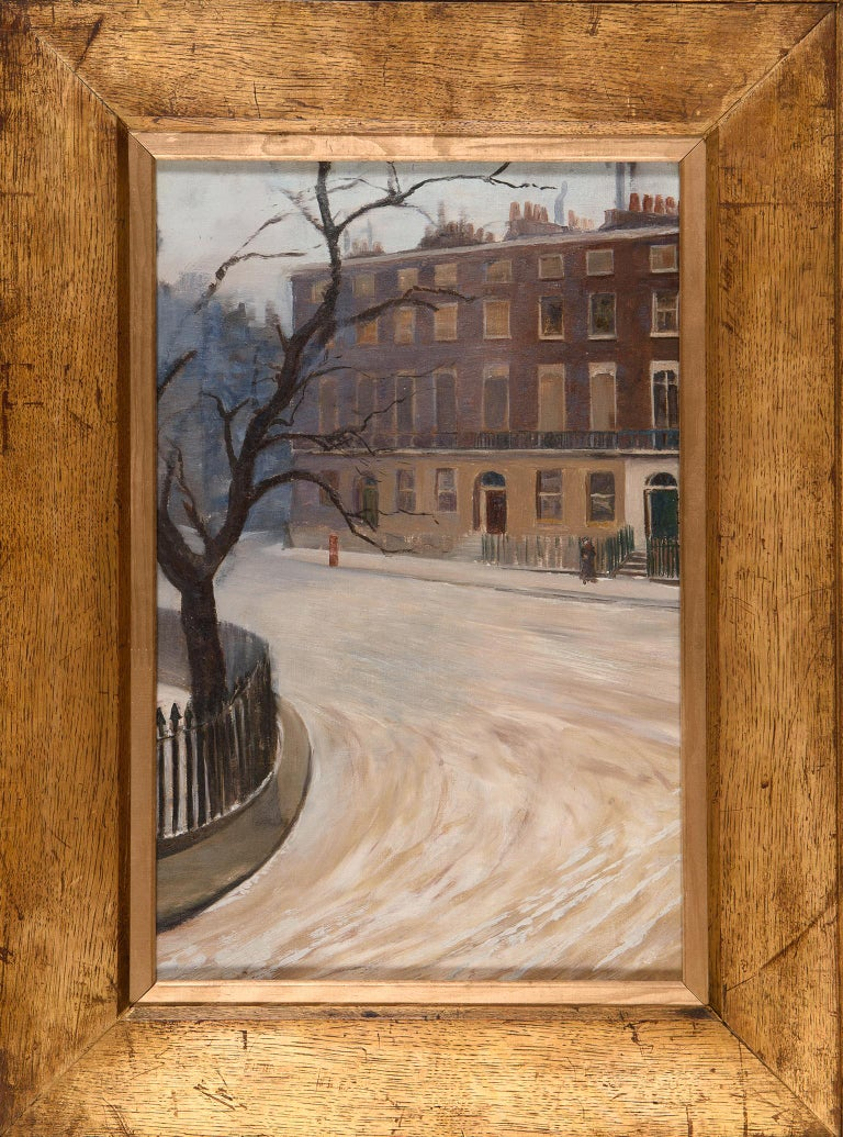 'A Snowy London Square', attributed to Frederick James Porter, 1920s landscape - Post-Impressionist Painting by Frederick James Porter