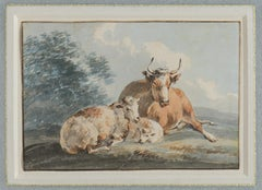 Peter La Cave,  'Cows and Sheep', early 19th century watercolour