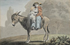 A Mother and Child on a Donkey - 18th century watercolour by John White Abbott