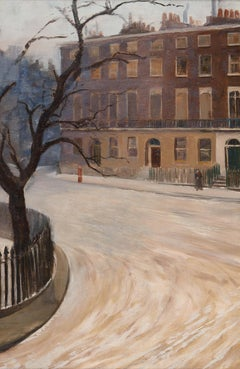 A Snowy London Square - early 20th century landscape oil painting