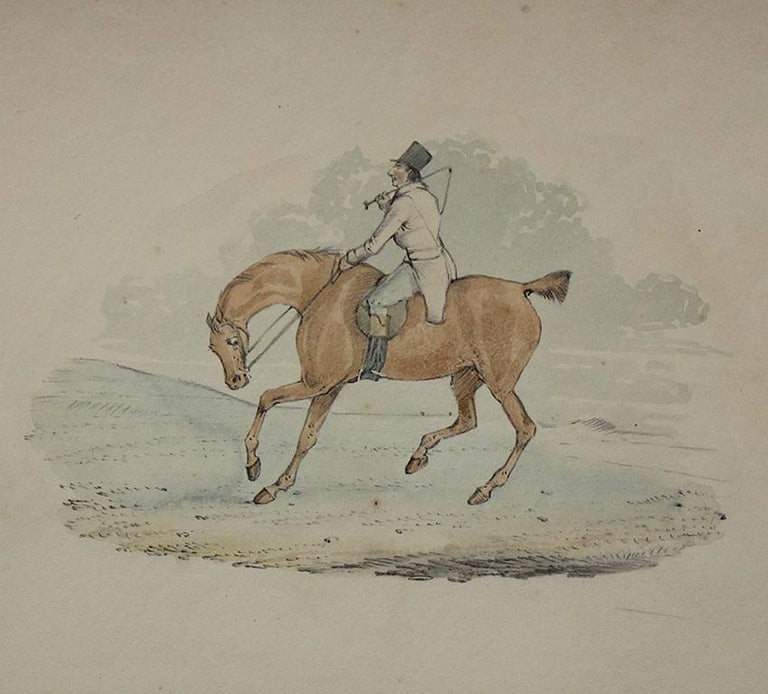 This nineteeth-century album, presumed to have belonged to the Countess of Beauchamp, contains six Henry Alken watercolour and pencil drawings: 'Tally ho', 'Full cry', 'A rider with a hound', 'A huntsman and a hound', 'A rider on a bay', and 'A