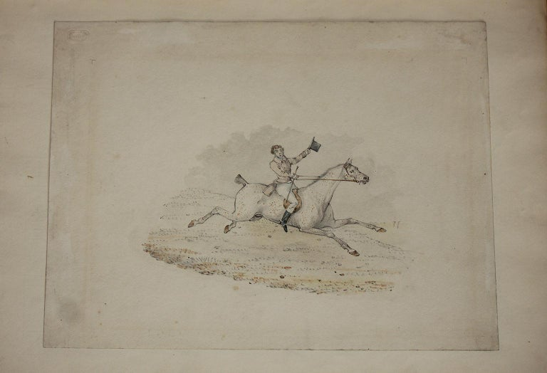 6 hunting drawings - 19th century watercolours of horses and dogs by Henry Alken For Sale 2