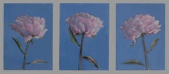 Collection of Peonies Triptych - still life oil paintings by Patrice Lombardi