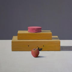 Boxes, Pink and Grey - contemporary still life oil painting by Patrice Lombardi