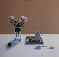 Peonies and Limes - contemporary still life oil painting by Patrice Lombardi