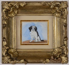 A Black and White Dog - 19th century watercolour painting by Lady Emily Dundas