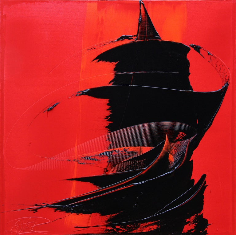 Black on red abstract squared oil painting, untitled 1