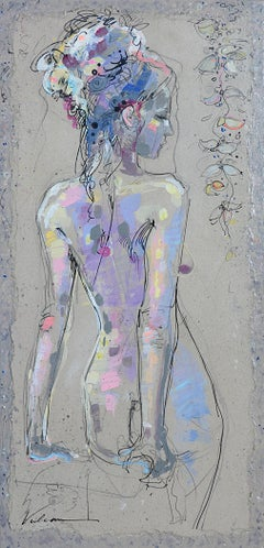 Lila 31, Nude Pensive Woman Standing from the Back, Light Pink and Blue on Grey
