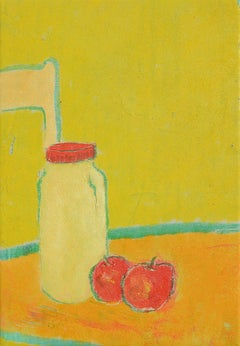"Yum (""Miam""), Milk Bottle and Red Apples on Orange Table and Yellow Background"