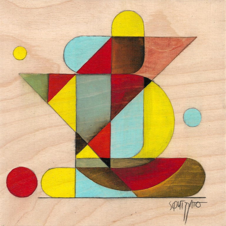 Antony Squizzato Abstract Painting - Gymno #1, Small Colorful Geometrical Abstraction, Acrylic on Birch Wood