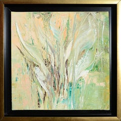 Folliage, Light Green and Light Orange Abstract Oil Painting
