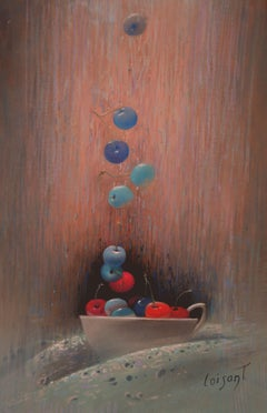 """Cherries Called by the Grace"" Poetic Realistic Red Blue Pastel Paper Painting"