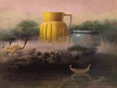 """Still-Life in the Forest "" Poetic Realistic Yellow Pink Pastel Paper Painting"