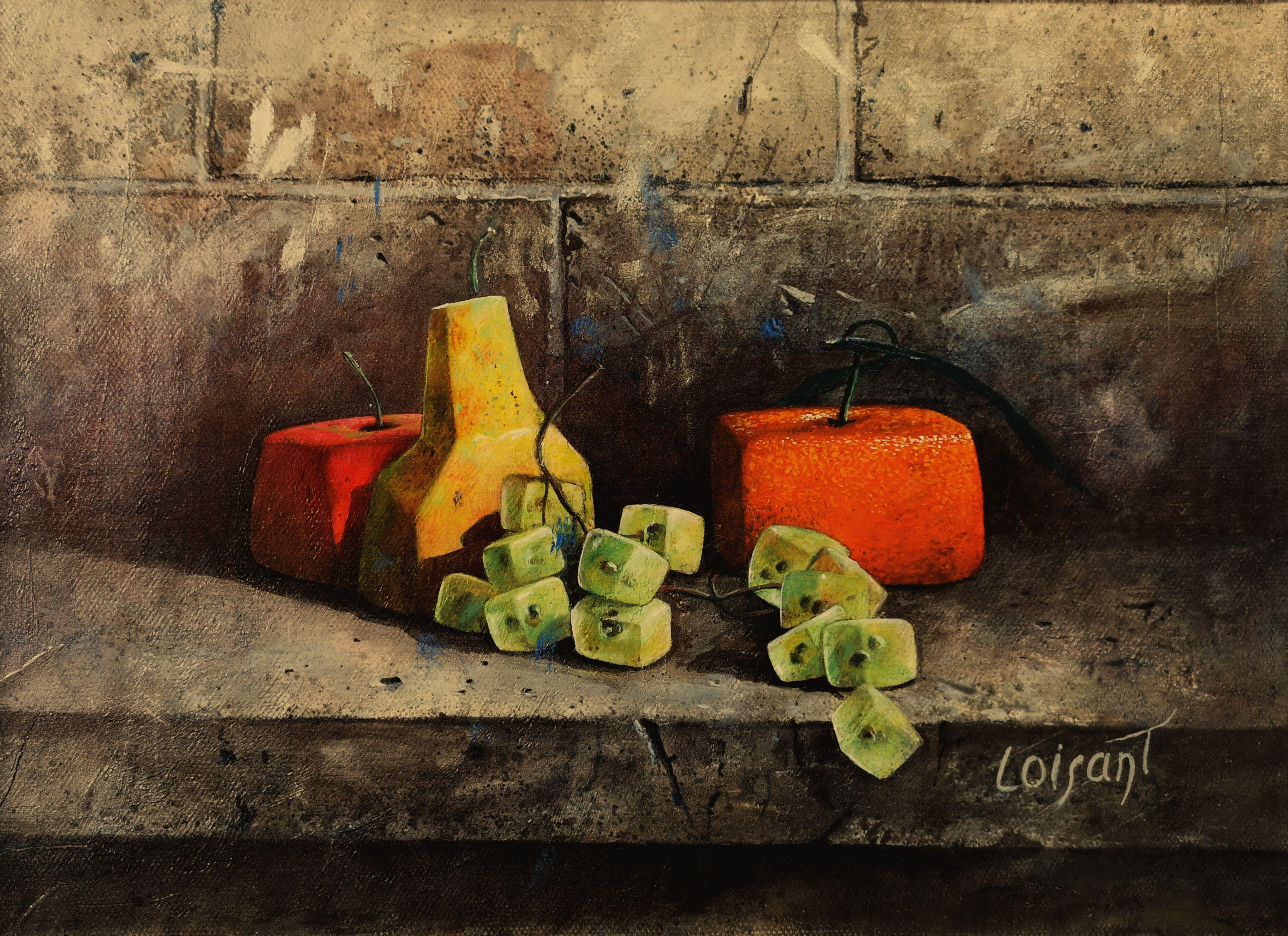 """""""Cubic Still-Life Easy to Put Away"""" Poetic Realistic Orange Green Oil Painting"""