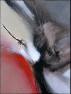 Red Beige Black and White Abstract Painting