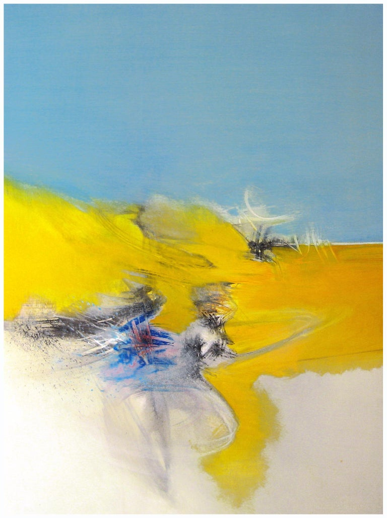 """Philippe Saucourt Abstract Painting - """"Dance"""" Blue and Yellow Graphic Abstract painting"""