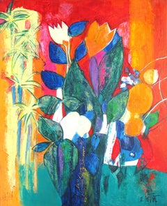 """Nissa"", Colorful Bouquet with Palm Tree Oil Painting"