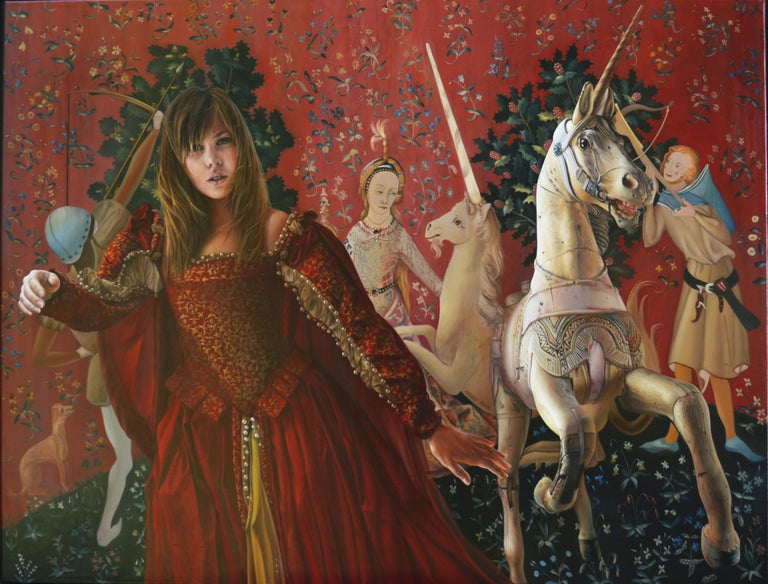 Andrée Bars Figurative Painting - The End of Innocence, Middle Ages Princess with Unicorn Realist Red Oil Painting