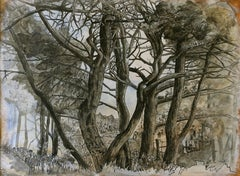 """Old Oaks"", Trees Inhabited by Human in Nature, Drawing and Watercolors on Paper"