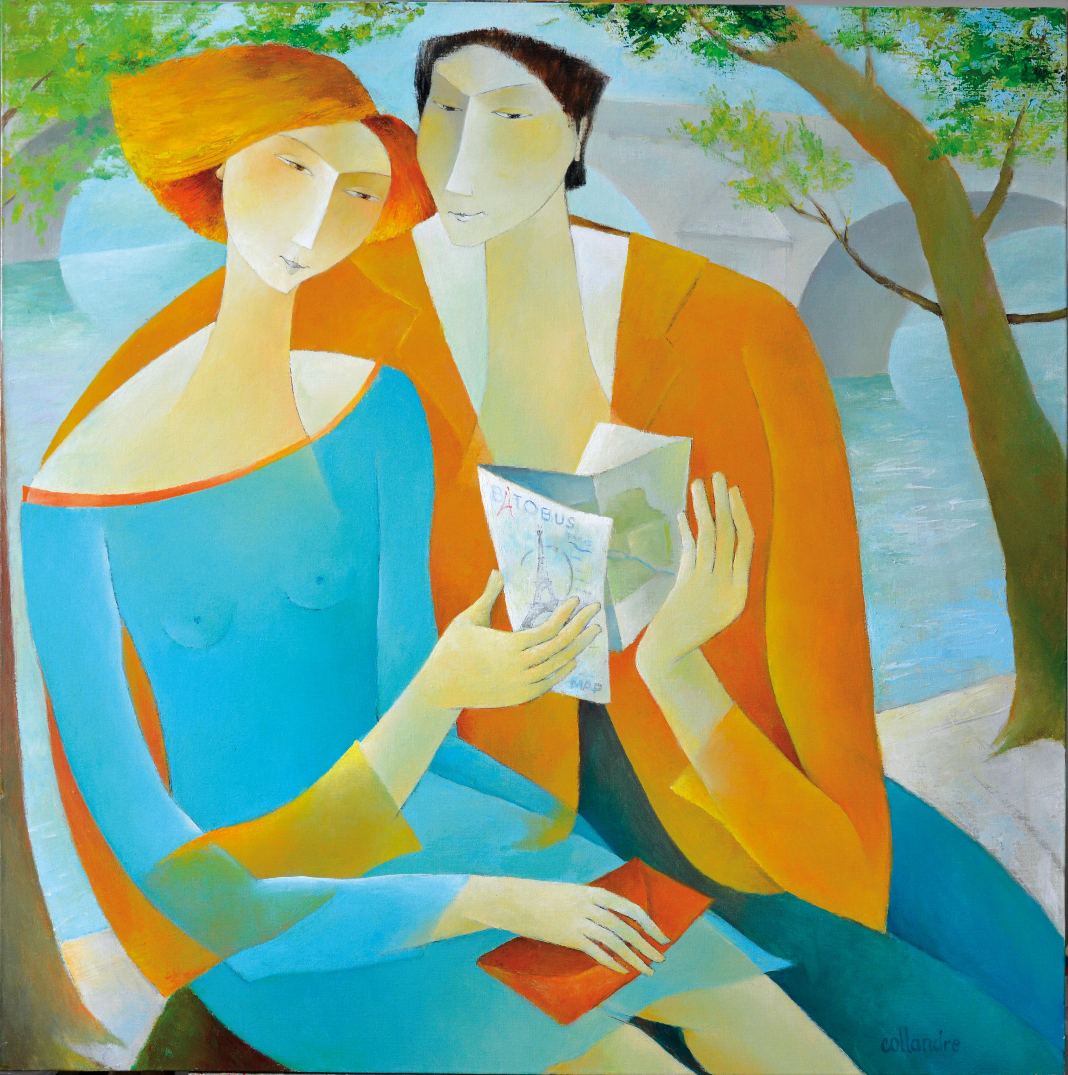 """Banks of Seine"", Paris, Sensual Reading Couple, Blue Orange Figurative Painting"